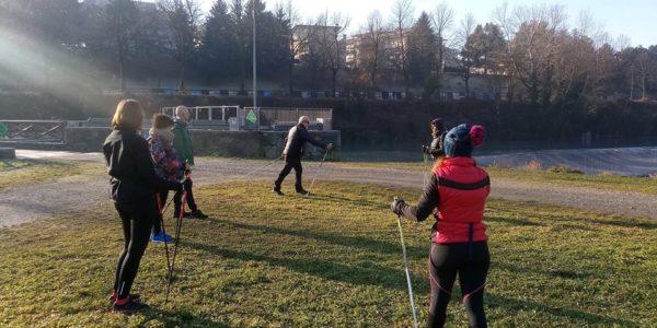 lezione di nordic walking alla pellerina